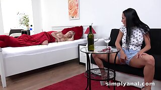 Sexy menacing haired cosset masturbating to her sleeping friend