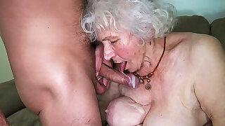 Curvy 91 year old old woman fucked away from toyboy