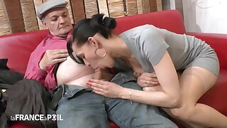 Steamy Perfidious Haired Lady Fucks Old Man