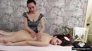 Babe Nataha Normalek massaged softcore by hot lady