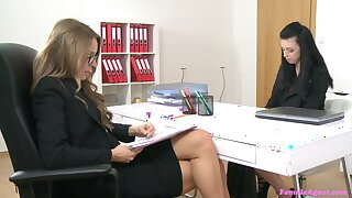 Smooth sapphist fucking during a job interview with Whitney Conroy