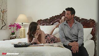 Stepdad satisfies his stepdaughter's thirst for a hard cock and she is so hot