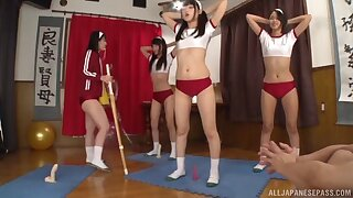 POV video of three Japanese girls tremendous head and riding on the floor