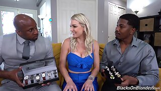 Blondie gets prosaic by a pair be advantageous to black hunks with huge dicks