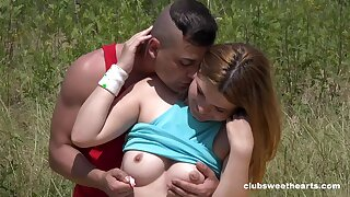 Fine ass redhead loves the outdoor for a conscientious hard shag in the grass