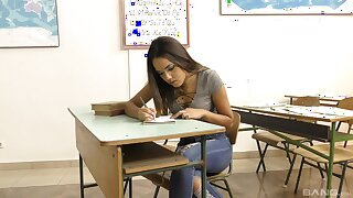 Fine Asian teen goes immoral on the teacher's thick dick