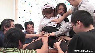 Asian girl in uniform Yui Shimizu gets creampied after hardcore gangbang