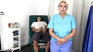 Sensuous, blondie nurse is using every chance to get screwed, even if she is at play the part