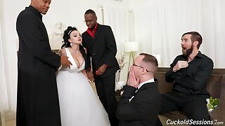 Busty nude MILF gets laid everywhere a bunch of black dudes on her wedding day