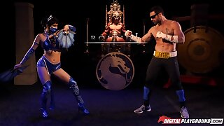 Princess Kitana beats the shit out of Johnny Cage and then fucks him silly