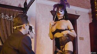 Masquerade sex party FFM threesome for Amirah Adara and Ania Kinski