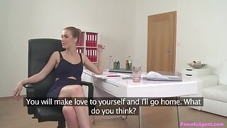 Messy facial ending for female agent Alexis after having nice dealings