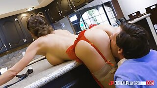 Aroused wife bends wantonness the kitchen table for the best sex